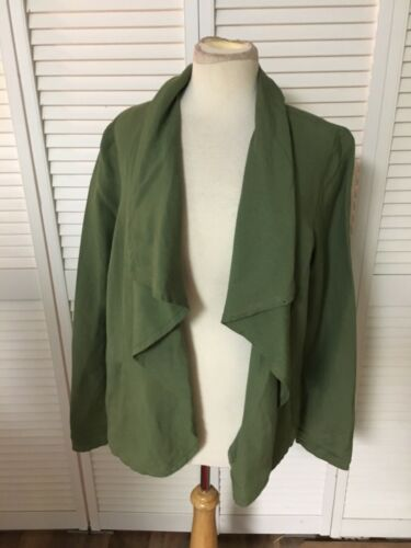 Amber Sun Women's Size Large Green Long Sleeve Jacket With Pockets, Open Front