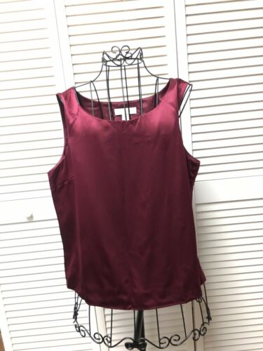 Petite Sophisticate Women's Size 14 Burgundy Tank Top Blouse Silky Feel