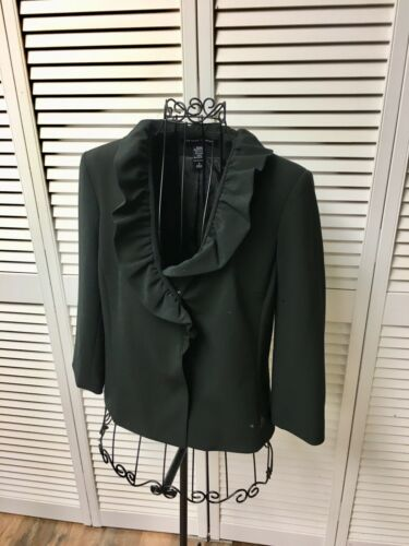 New York And Company Women's Size 8 Stretch Black Dress Jacket Ruffle V-Neck