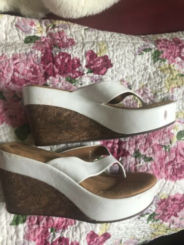 "Womens Dr Scholls "" Fever"" White Heeled Slides Sz 6"