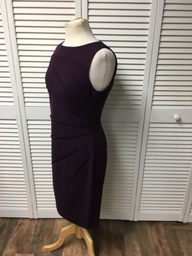 Calvin Klein Women's Size 10 Plum Colored Sleeveless Dress Pleasted To One Side