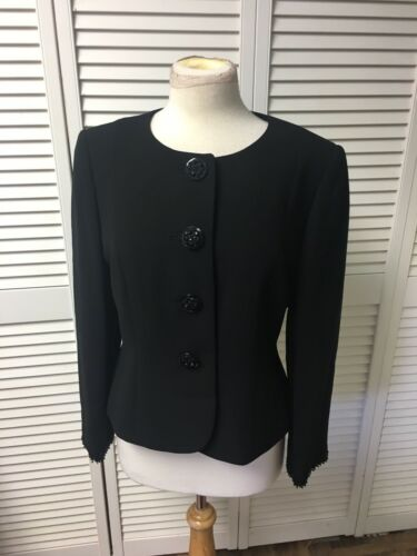 Tahari Women's Petite Size 10P Black Button-Down Jacket Formal Blazer Style