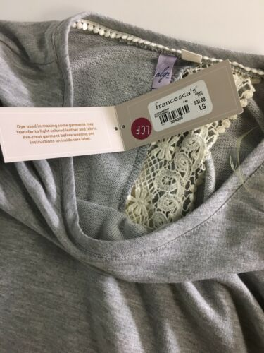 Francesca's Women's Sz L Grey Long Sleeve Sweater Open Back W/ Lace Trim NWT