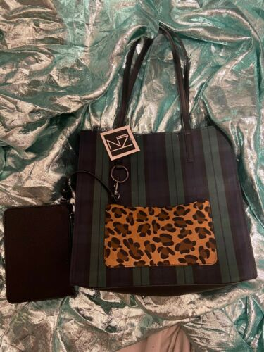 Womens Inzi Navy Green Plaid Tote Purse With Wristlet