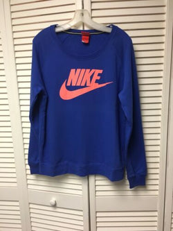 Nike Women's Size Large Blue Long Sleeve Sweater With Peach Colored Nike Logo