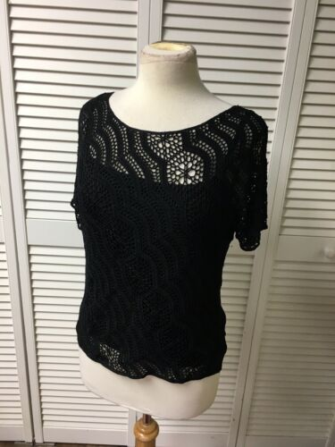Alfani Womens Sz M Black Short Sleeve Blouse Lace Cover W/ Tank Underneath