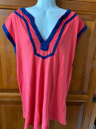 Women's J Crew Tunic Top Sleeveless V-Neck Coral With Navy Trim Sz S