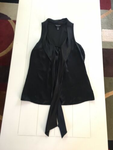 White House Black Market Women's Size XS Black Sleeveless Blouse Ties At Neck