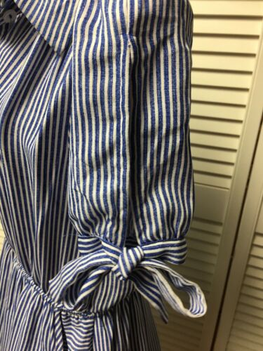 Monteau Women's Sz S Blue/White Stripe Dress Button-Down Collar Top Flowy Bottom