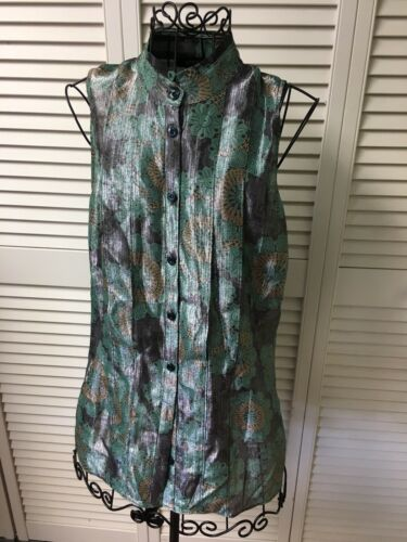 Etcetera Women's Size 6 Sleeveless Button Down Blouse Milticolor Shimmery