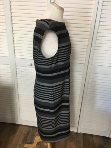 Calvin Klein Women's Size 12 Grey Stripped Dress Business Casual Cap Sleeves NWT