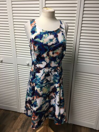 Worthington Women's Size 10 Multicolor Dress Sleeveless Flowy Bottom Zipper Back