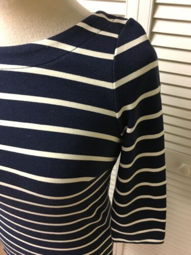 Boden Women's Size 4 Navy Blue And White Striped Dress Form Fitting Zipper Back
