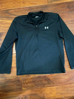 UNDER ARMOUR UA Women Shirt size M Black Gray 1/4 zip Pullover Top Long Sleeve T