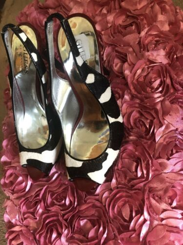 Pony Hair Cow Giraffe Brown White Open Toe Sling Back Pumps By Guess Sz 5
