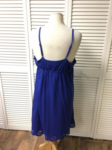 Banana Republic Women's Size XL Blue Sun Dress Spaghetti Straps V-Neck NWT