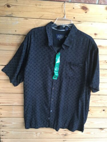 Nat Nast Mens Size XL Navy Blue Button-Down Shirt W/ Collar Short Sleeves NWT