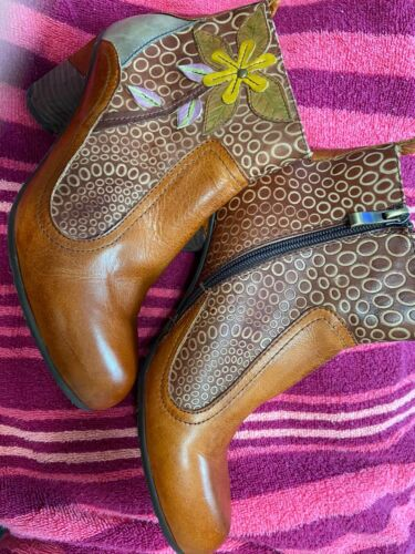 "Womens Tan A'rtiste By Spring Step "" Dramatic"" Boots Leather Sz37 (6.5 -7)"