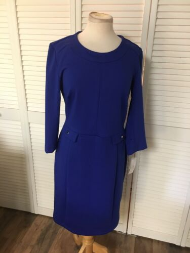 Liz Claiborne Women's Size Large Blue Long Sleeve Dress Business Casual