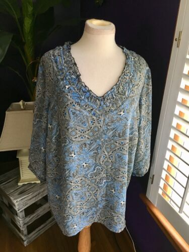 Coldwater Creek Women's Size 1X Long Sleeve Paisley Blouse V-Neck W/ Ruffles NWT