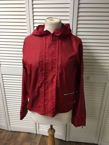 Tommy Hilfiger Tommy Jeans Women's Size Large Red Zip Up Jacket With Hood