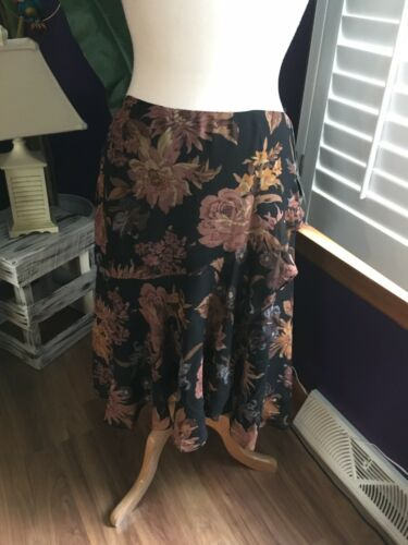 Ralph Lauren Women's Size 10 Midi Skirt W/ Ruffled Layer Look Floral Pattern NWT