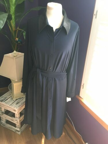 Ralph Lauren Women's Sz 16W Navy Blue Long Sleeve Button Down Dress W/ Belt NWT