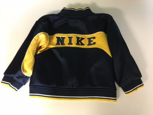 Nike Toddlers Size 3T Zip Up Jacket Navy Blue And Yellow Long Sleeve W/ Pockets