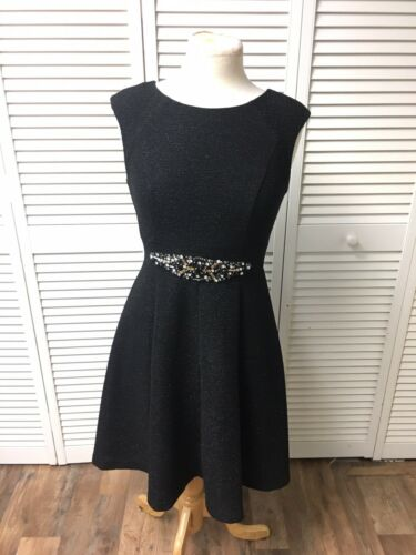 Eliza J Women's Size 4 Black Sleeveless Dress Flowy Bottom Beaded Waist Sparkly