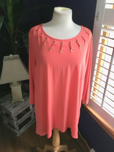 JM Collection Women's Size 2X Coral Color Long Sleeve Blouse Decorated Neck Line