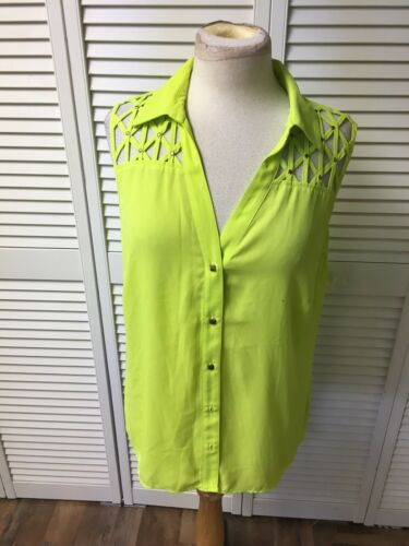 Thalia Sodi Women's Size Large Neon Button-Down Blouse Sleeveless With Collar
