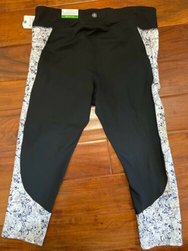 Womens Gaiam Black White Grey Exercise Yoga Pants Sz XL