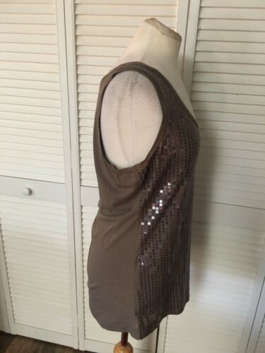 Ann Taylor Women's Size Large Brown Tank Top W/ Sequins Front