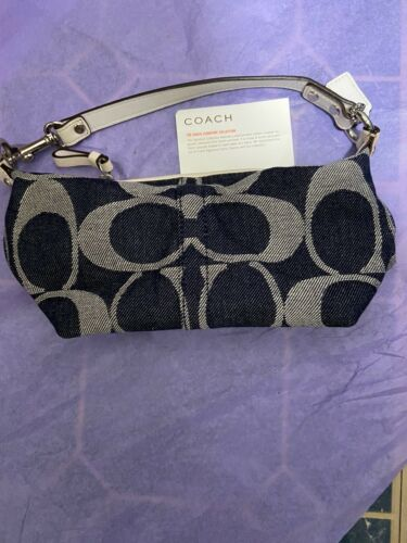 Womens Small Navy Coach Purse With Logo