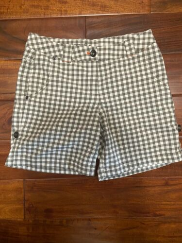 Womens Brown White Plaid Golf Shorts Sz 4