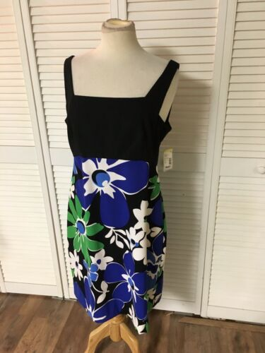 London Style Women's Size 14 Strapless Dress Black Top Floral Bottom NWT