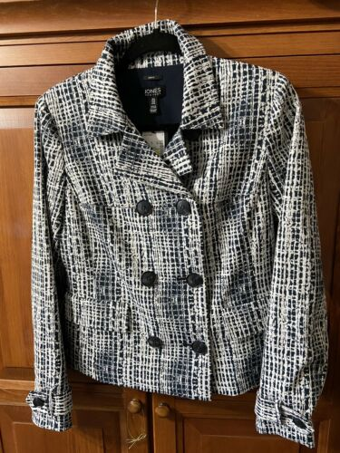 Jones New York Gramercy Park Winter White & Black Blazer Sz 6