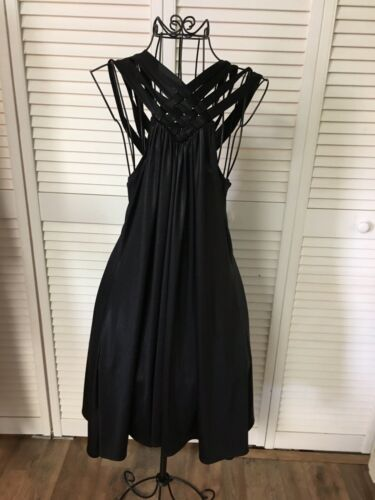 BCBGeneration Women's Size Small Black Flowy Dress Strapy Top Pleated