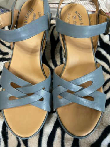 Womens Korks By Kork Ease Blue Criss Cross Strappy Platform Shoes 8/39