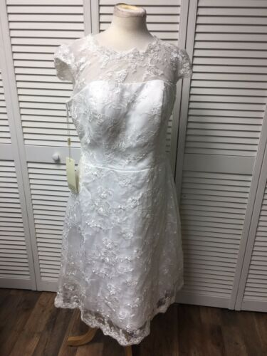 NEW Jaeden White Wedding Dress Women's Size 14 Lace Cover, Cap Sleeves NWT