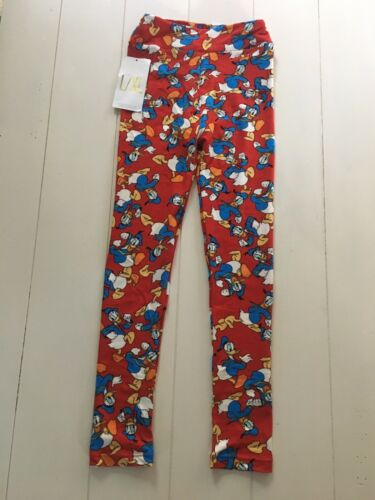 "LuLaRoe Kids Size L/XL Soft Pants/Leggings Red W/ Donald Duck 17"" Waist, Stretch"