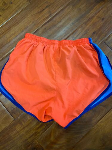 Womens Neon Orange Blue Dri Fit Running Shorts With Built In Pants M