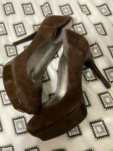 Guess Brown Suede Leather Platform Pump Sz 10 M Heels