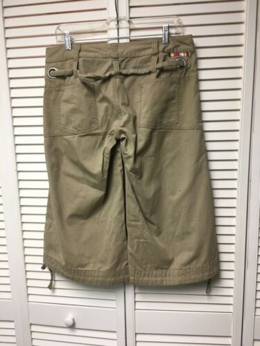 E89 Women's Size 10 Beige Khaki Capris With Belt & Pockets, Drawstring At Ankles