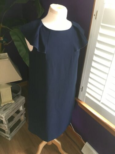 Rabbit Women's Size 6 Navy Blue Dress W/ Cap Sleeves Peek Back