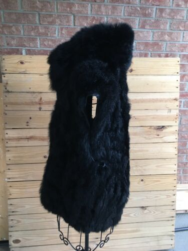 Women's Size Medium Black Fur Style Vest Sleeveless Zip Up Front