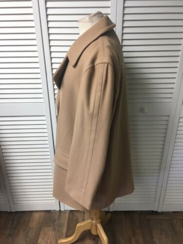 "Brooks Brothers Beige Long Peacoat Mens 44"" Chest Large Pockets Button Closure"
