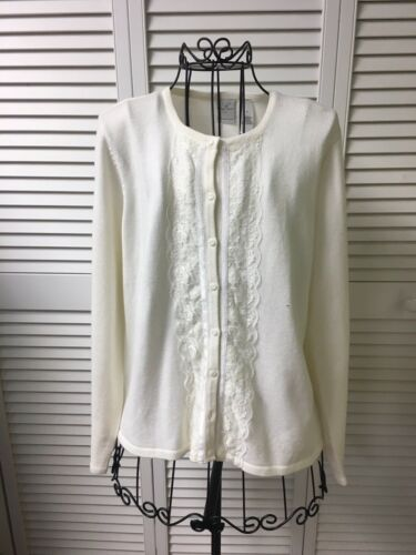 Emma James By Liz Claiborne Women's Size Medium Cream Color Cardigan Button Down