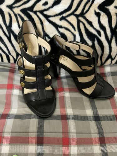 Coach Secy Black Leather Strappy Open Toe Designer Pumps Sz 9