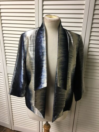 "Chico's Size 1 Women's Dress Coat/Jacket Open Front Navy Blue/Tan 41"" Chest"
